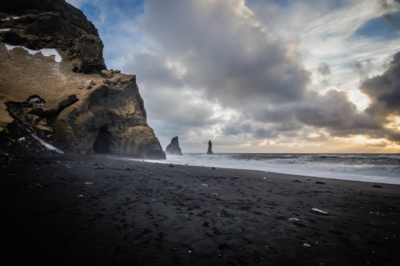 Iceland black sand beach travel passport