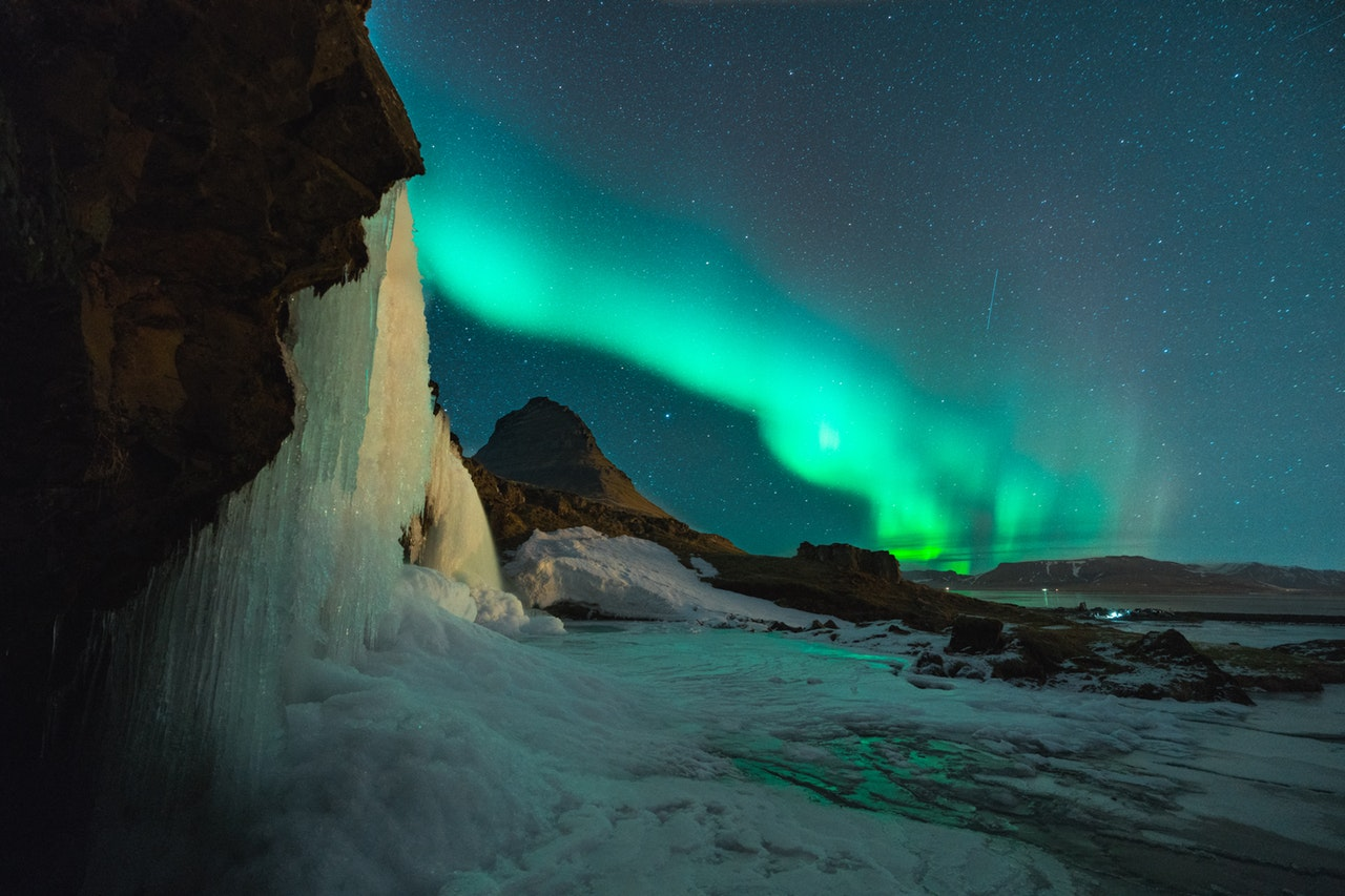 Iceland waterfall northern lights passport trip travel